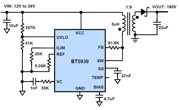 bt5939作为反激式隔离电源的典型应用