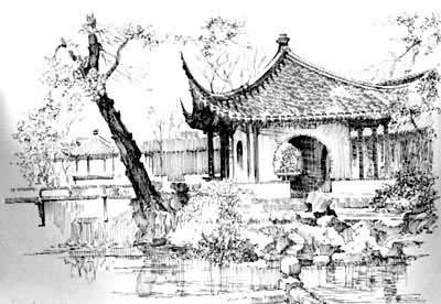 苏州拙政园手绘