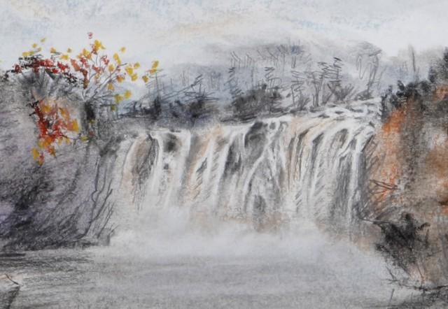 壁纸 风景 国画 旅游 瀑布 山水 桌面 640_442