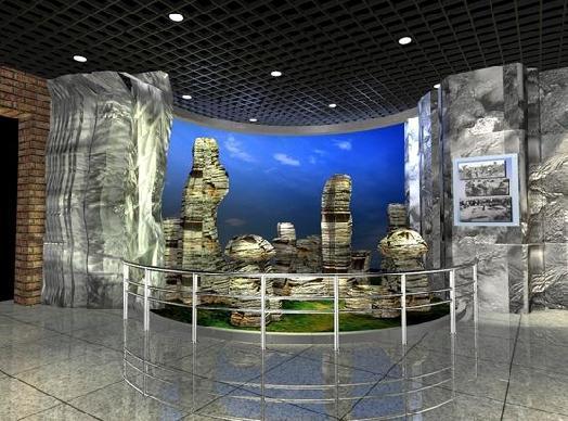 五厅(地层古生物厅),以虚拟影象,旋转展台,电动螺旋模型,灯箱展板