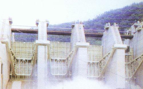 架设在丹江口水电站大坝溢流坝段19至21坝段,主要为1号m900塔机拆除和
