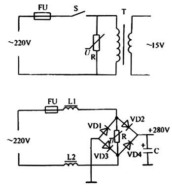 压敏电阻器的典型应用电路