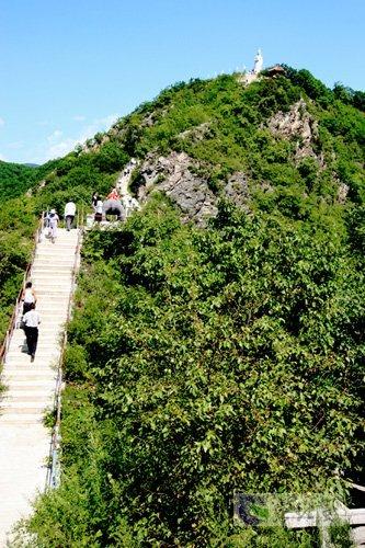 由水泥阶路,木桥,龙龟洞等组成了通往仙女峰的通道.