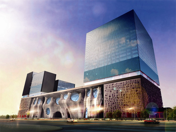 该建筑坐落于中国上    海浦东新区的中心,毗邻上海新国际博览中心