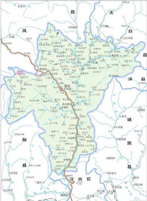 西安到勉县地图